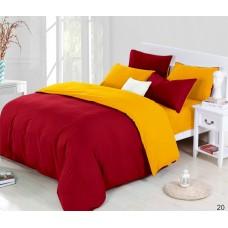 Постельное белье Сатин Дения - Бардовый/Желтый